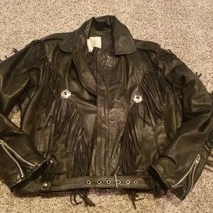 Vintage Black Leather Moto Jacket